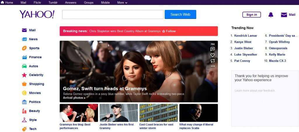 login yahoo homepage