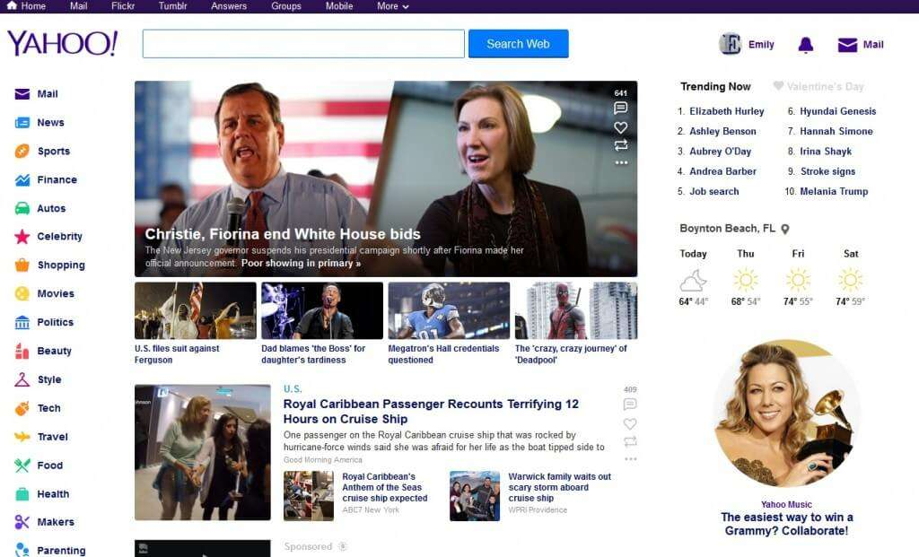 yahoo account home