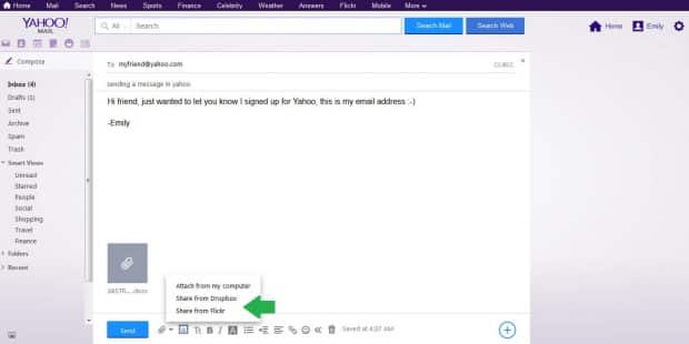 How to Send a Message, Video, Image and File with Yahoo