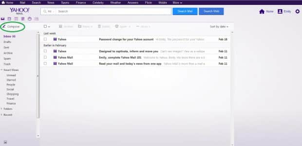 yahoo compose email