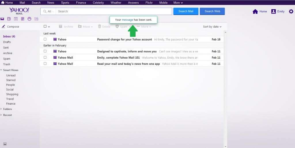 yahoo email sent
