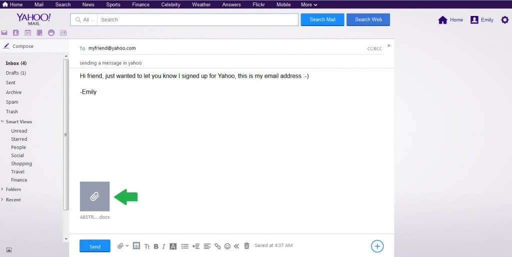 yahoo email with file attached
