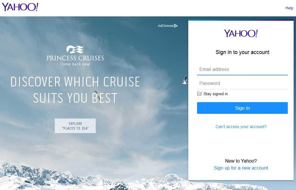 yahoo sign in page