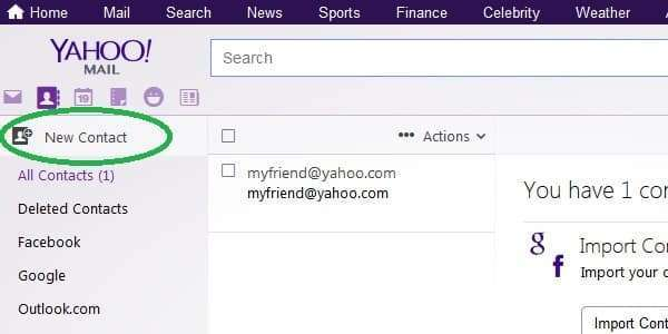 yahoo add new contact