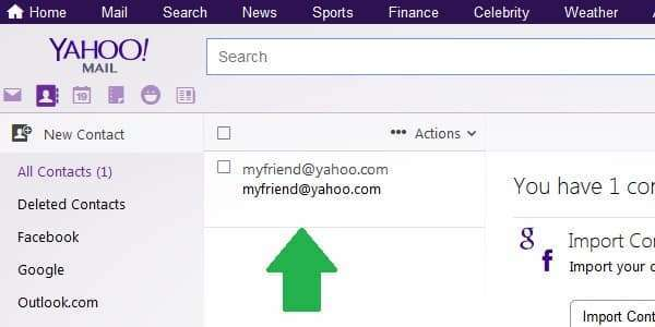 yahoo contacts list
