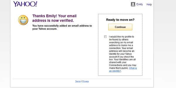 yahoo email verified
