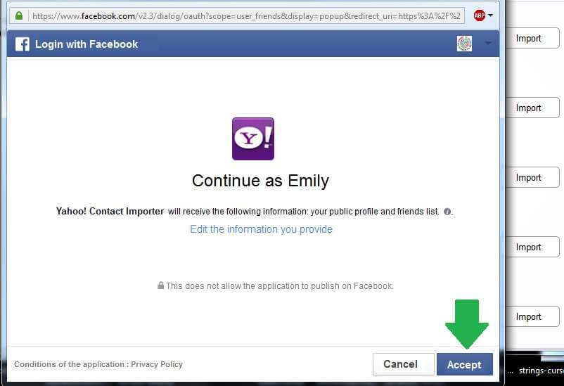 yahoo facebook contact import permission
