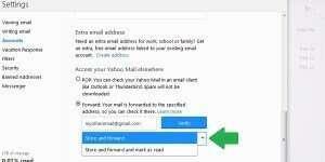 yahoo forward mail storage
