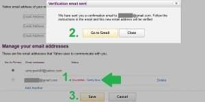 yahoo forward mail verify page