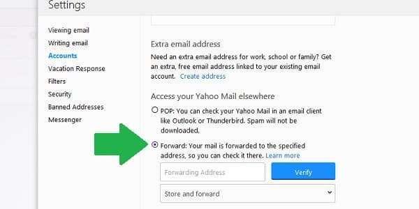 yahoo forward mail