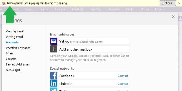 yahoo mail forwarding popup blocked
