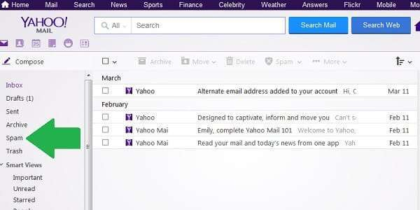 yahoo mail spam folder
