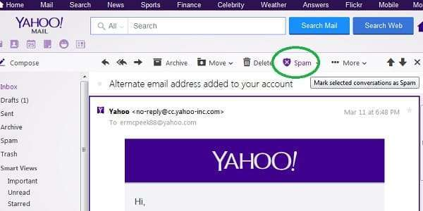 how to stop spam mail in yahoo