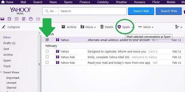 yahoo mark message as spam