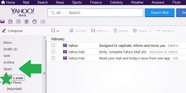 yahoo message moved to spam