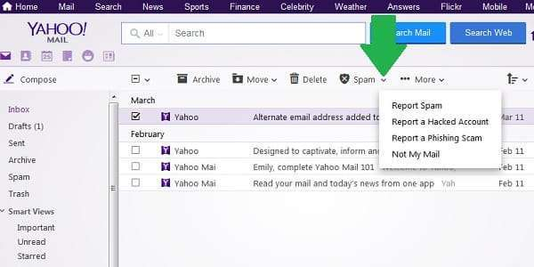 yahoo report spam or phishing