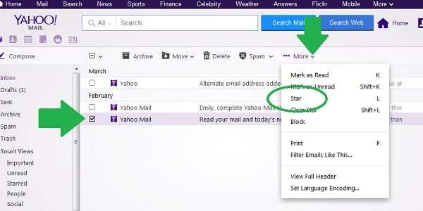 yahoo star message menu