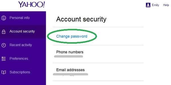 yahoo security change password