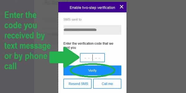 yahoo two step verification code