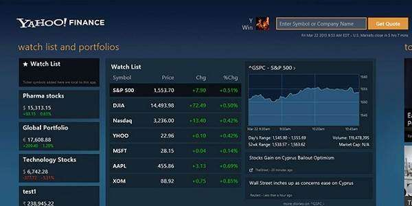 Yahoo Finance New Tab extension