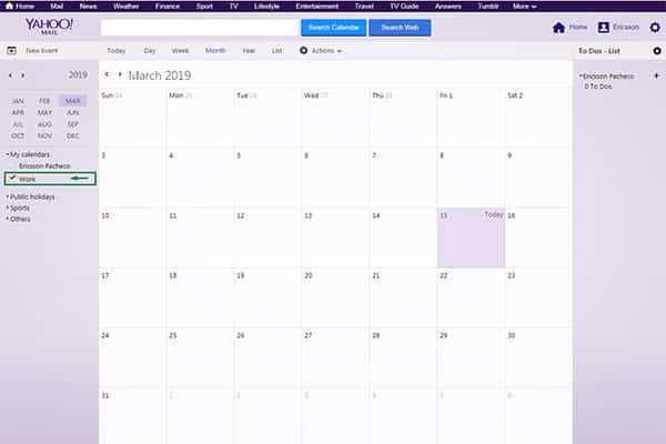 ymail calendar