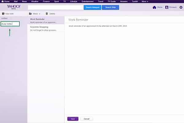 Yahoo Mail notepad