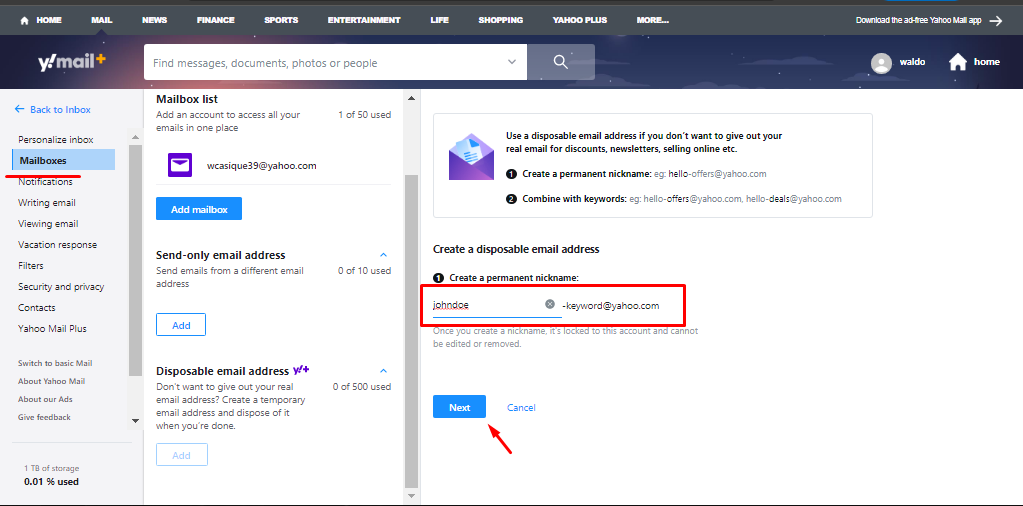 yahoo mail premium